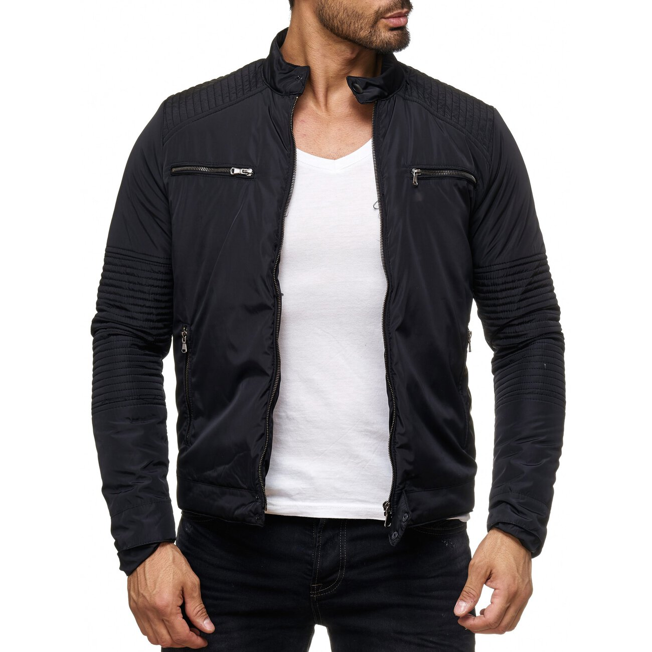 herren jacke bergangsjacke windbreaker gesteppte blouson. Black Bedroom Furniture Sets. Home Design Ideas