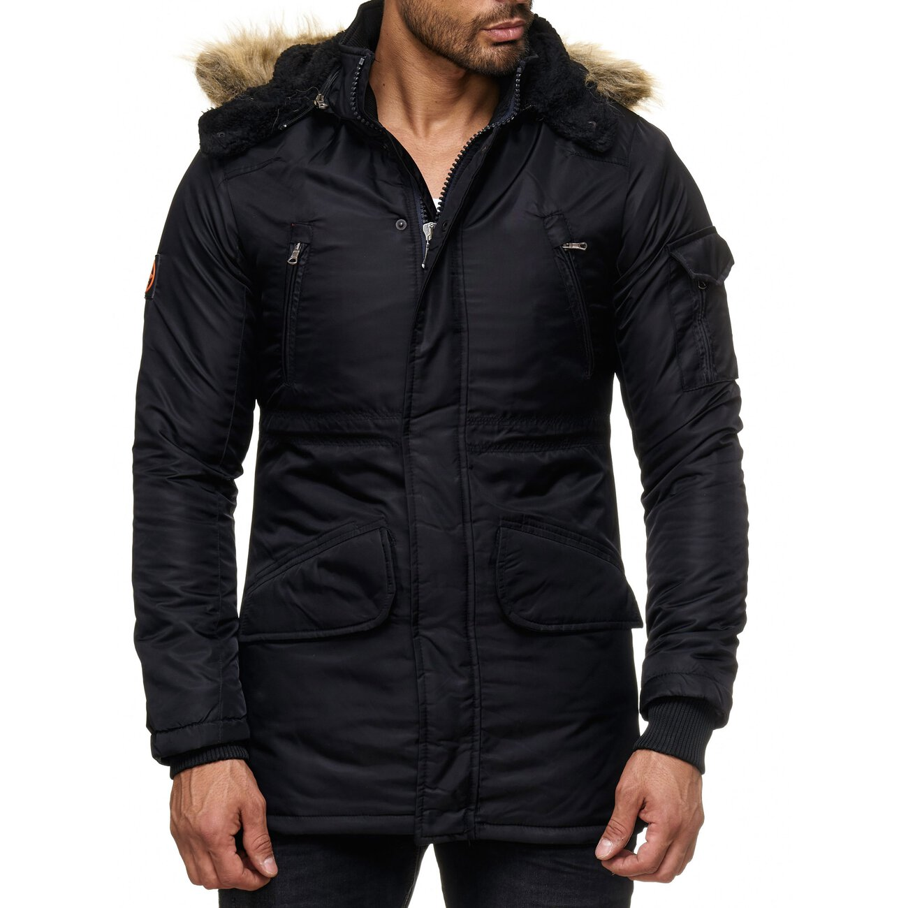 herren jacke mit fellkapuze winter jacke anorak parka kapuzenjacke. Black Bedroom Furniture Sets. Home Design Ideas