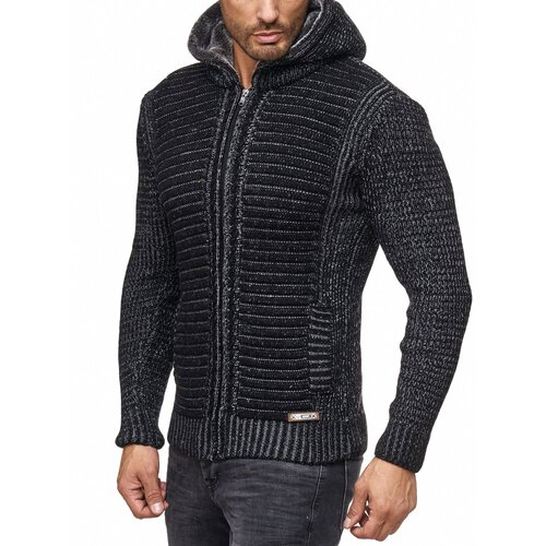 Herren Strickjacke warme Kapuzenjacke Fell-Kapuze Winter-Jacke RS-18002