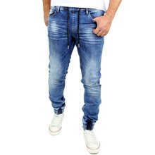 Reslad Used Look Jeans-Herren Slim Fit Jogging-Hose RS-2073