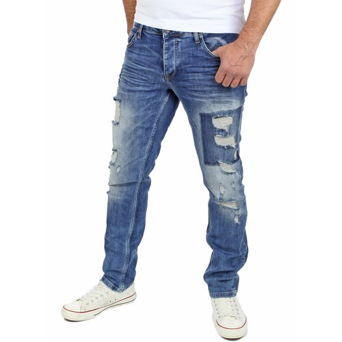 Reslad Jeans Herren Hose Cut Off Slim Fit Destroyed Jeanshosen RS-2074 Blau