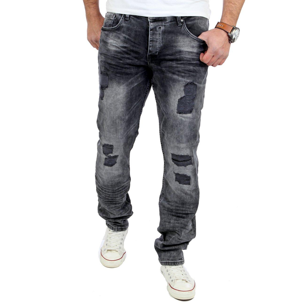 reslad jeans herren ripped slim fit denim jeans hose rs 2075. Black Bedroom Furniture Sets. Home Design Ideas