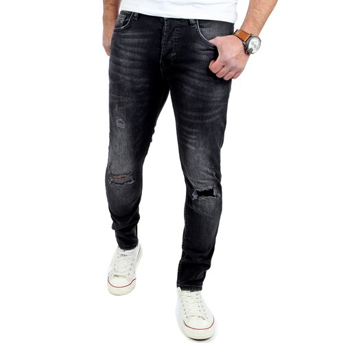Reslad Jeans-Herren Ripped Skinny Fit Denim Jeans-Hose RS-2077