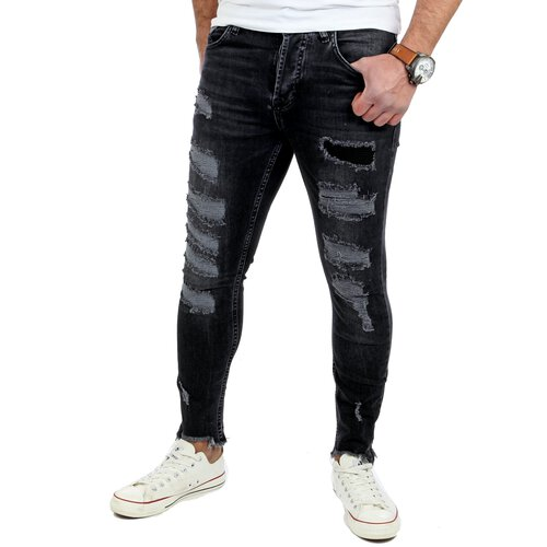 Reslad Jeans-Herren Frayed Skinny Fit Denim Jeans-Hose RS-2078