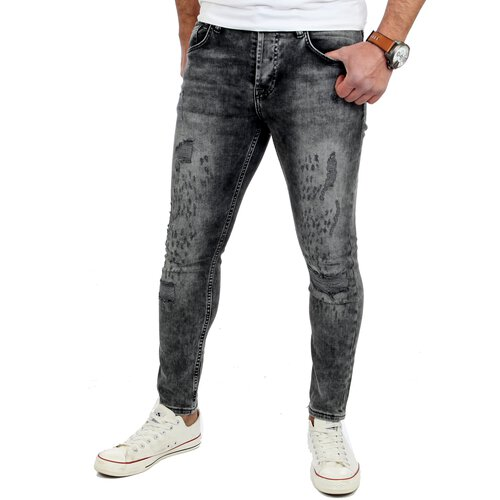 Reslad Jeans-Herren Skinny Fit Destroyed Look Denim Jeans-Hose RS-2079