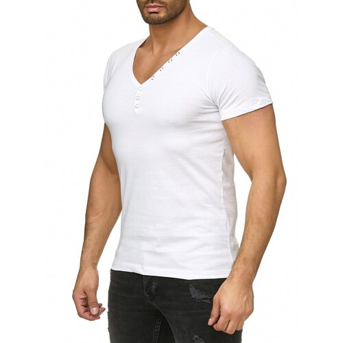 Reslad T-Shirt Herren V-Neck Buttoned Basic Uni Kurzarm-Shirt V-Ausschnitt RS-5010