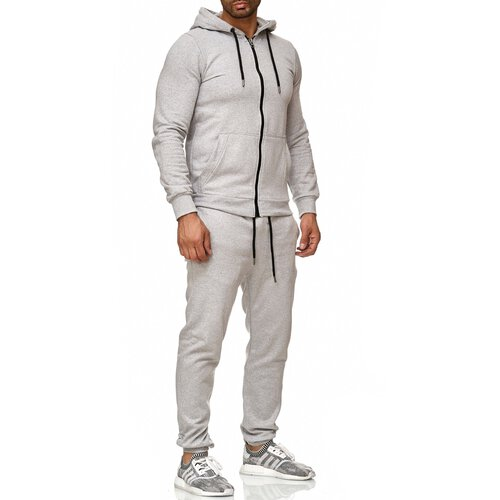Reslad Herren Jogginganzug Trainingsanzug Sportanzug Jogging-Hose + Sweat-Jacke RS-5074 Grau 2XL