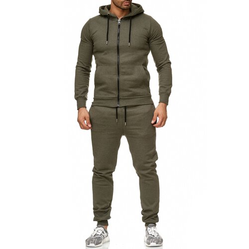 Reslad Herren Jogginganzug Trainingsanzug Sportanzug Jogging-Hose + Sweat-Jacke RS-5074 Khaki 2XL