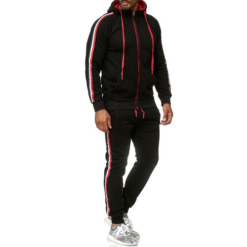 Reslad Herren Jogginganzug Trainingsanzug Sportanzug Jogging-Hose + Sweat-Jacke RS-5076 Schwarz XL