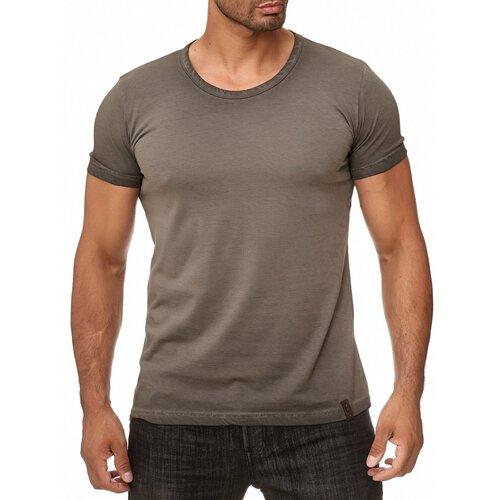 Reslad Herren Männer-Shirt Vintage Look Basic Rundhals. b2e5907344