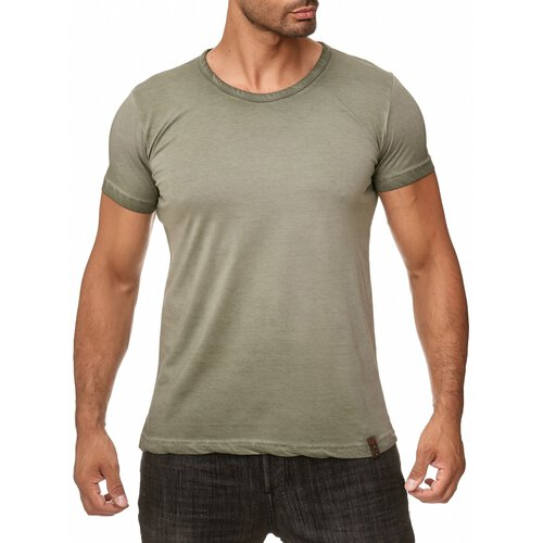 Reslad Herren Männer-Shirt Vintage Look Basic Rundhals Kurzarm T-Shirt RS-5035