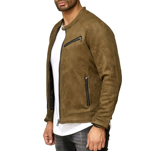 the latest 410d4 8682a Reslad Herren-Jacke Übergangsjacke Pilotenjacke Windbreaker Männer-Jacke in  Wildleder-Optik RS-9025
