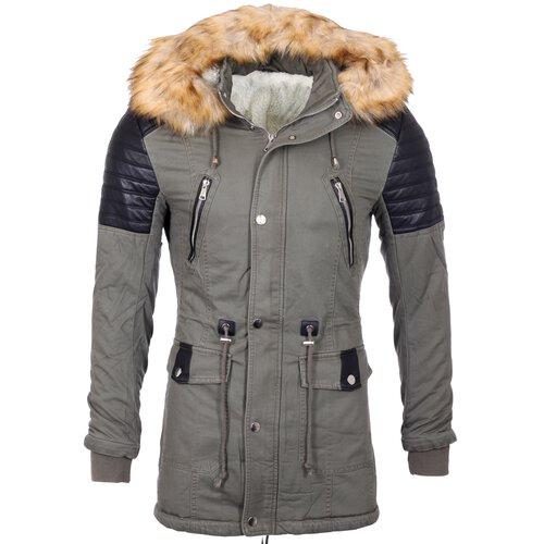 timeless design 53ad0 00e19 Herren-Jacke mit Fellkragen Winter-Jacke Männer-Jacke gefüttert Mantel  Material-Mix Parka A2B-88828